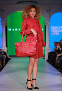 Short Chilli Red Dress - With Marvin Nonis red bag - side view full length