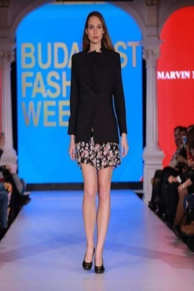 Black Jacket with Floral Dress - Full length