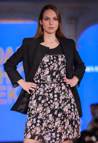 Black Jacket with Floral Dress - close up