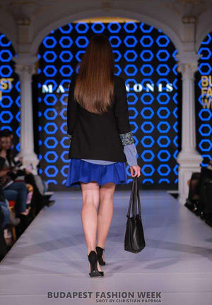 Black Jacket, Blue Shirt, Blue Skirt - The back
