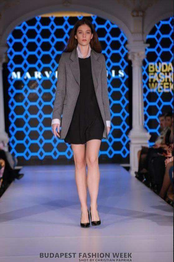 Grey Jacket, Black Dress, and  Ladies White Shirt - full length