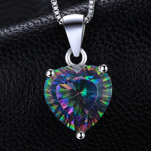 heart rainbow necklace pride jewelry