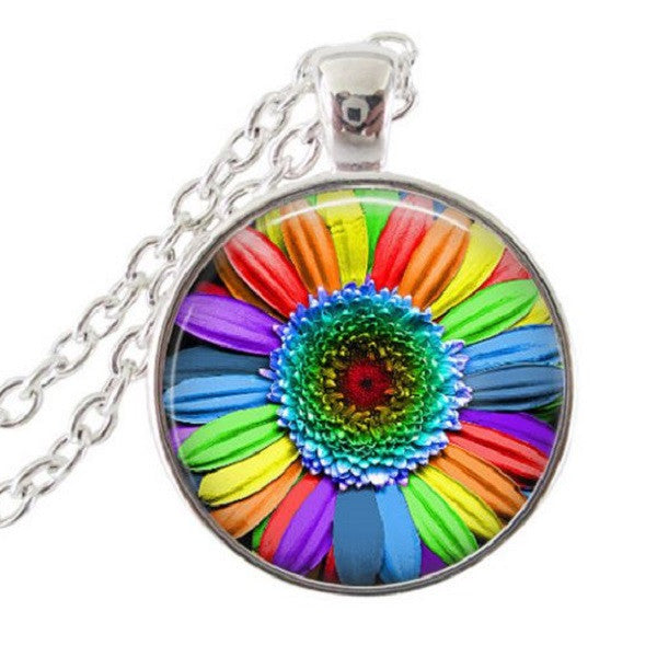 rainbow sunflower necklace pride jewelry