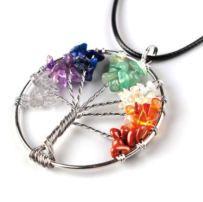 rainbow tree of life necklace pride jewelry