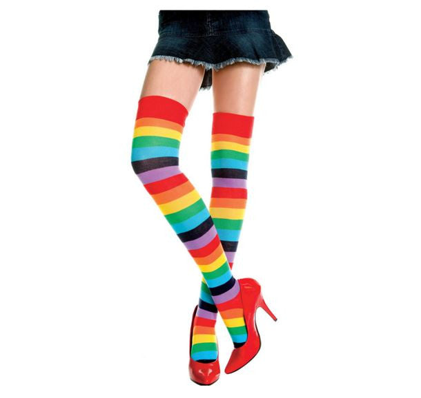 rainbow knee high socks