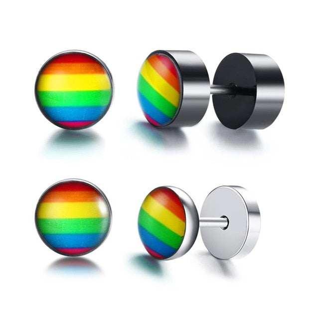 Rainbow Spike Stud Earrings for Men Women Charm Stainless Steel