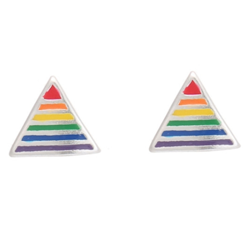 Rainbow Men Stainless Steel Triangle Pentagram Ear Studs