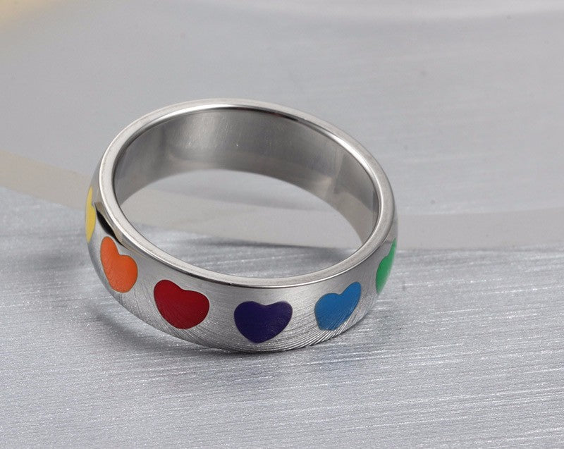rainbow heart ring pride jewelry