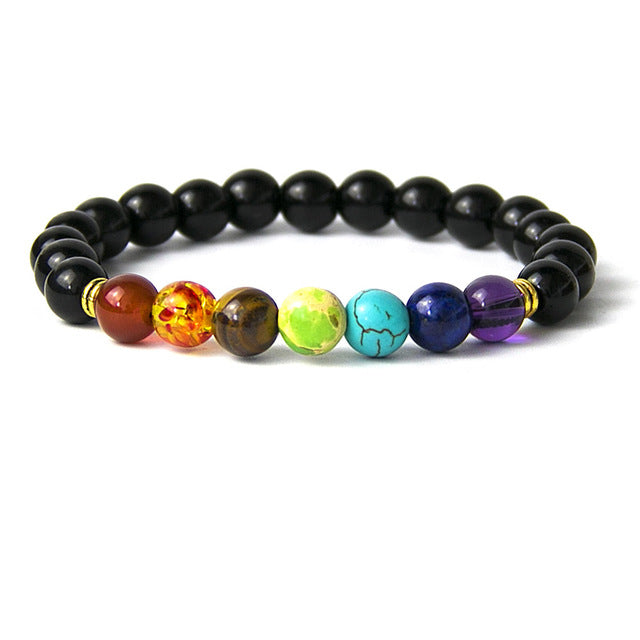 Rainbow Bead Bracelet - Black Agate, Red Agate, Blue Agate, Wooden, Hematite, & Moonstone Beads