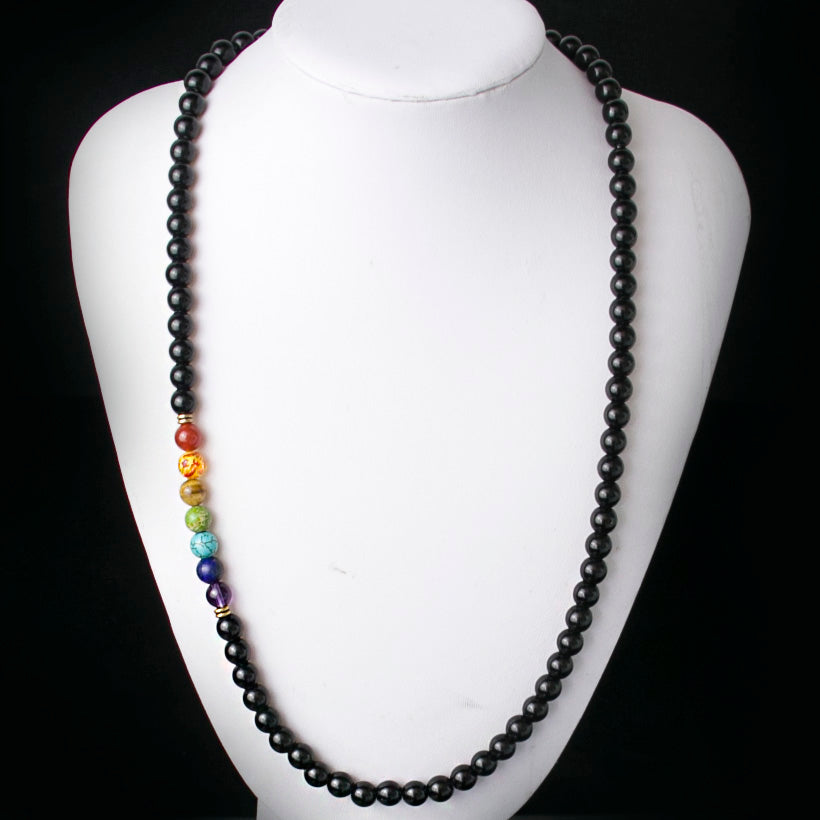 Black Agate Beads Rainbow Necklace