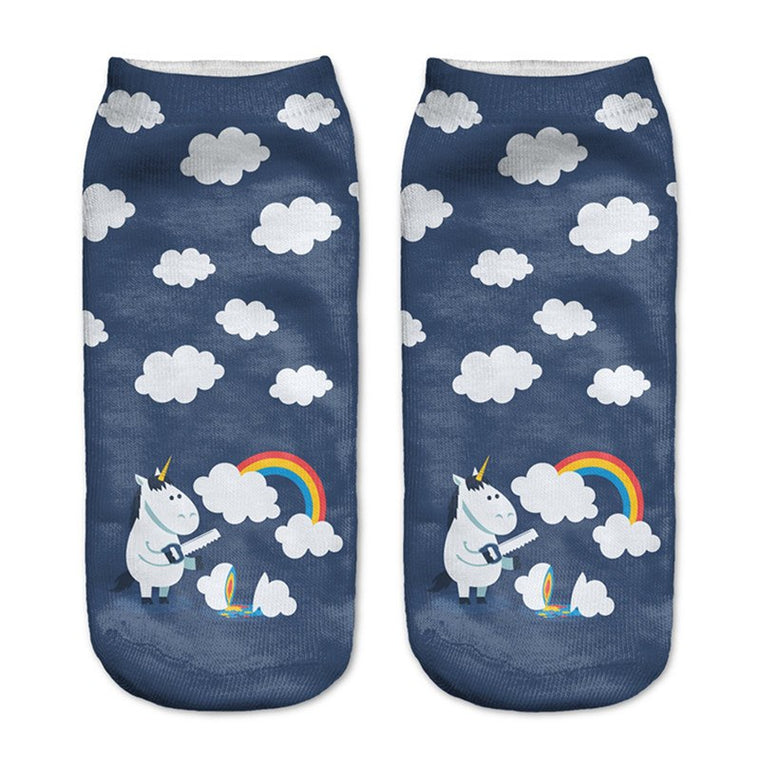 Rainbow Unicorn Low Cut Ankle Socks