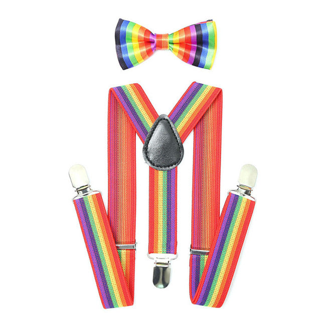 Rainbow Elastic Striped Kids Suspender