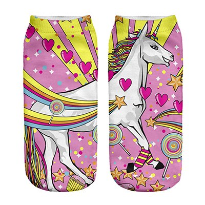 Fat Rainbow Unicorn Low Ankle Socks