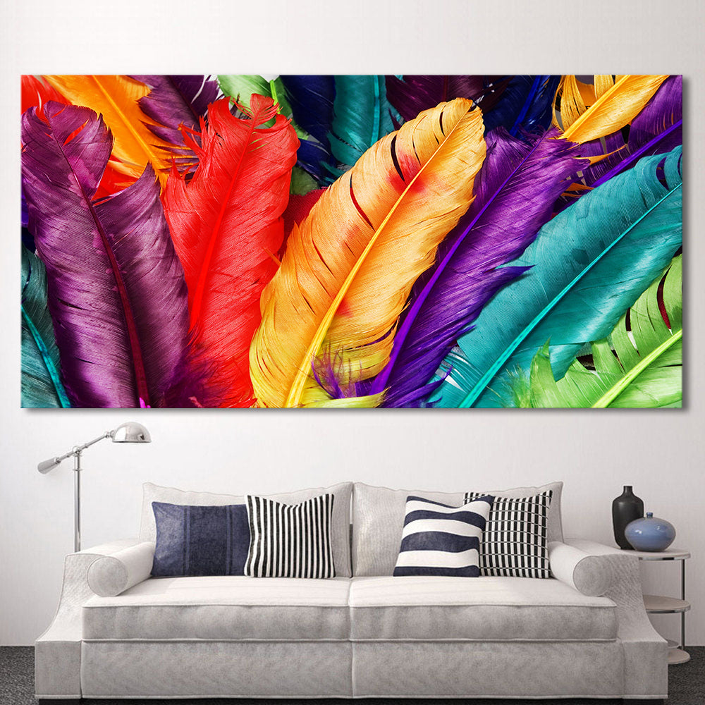 Rainbow Feathers Canvas Oil Wall Painting 8