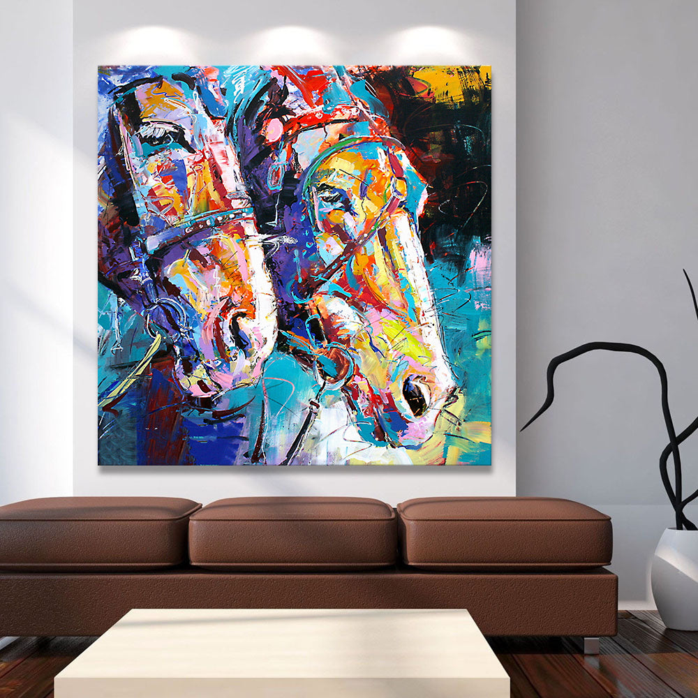 Colorful Abstract Pop Art Horses Painting