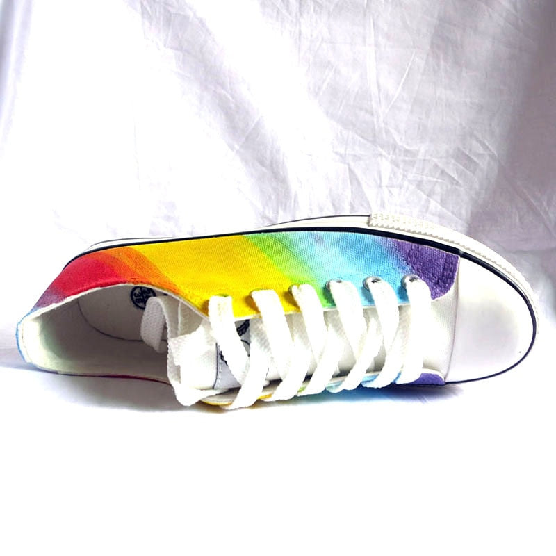 Rainbow Gradient Hand Painted Canvas Shoes