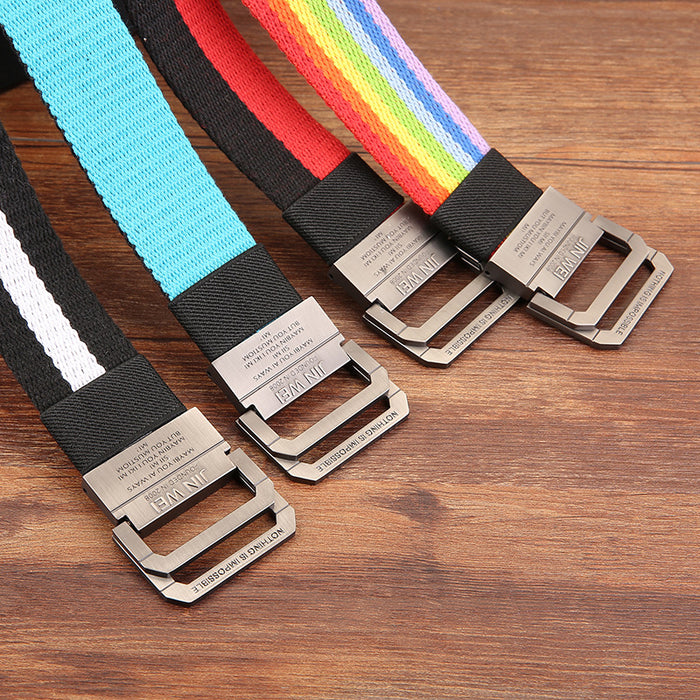 Rainbow Nylon Unisex Belt with Alloy Buckle