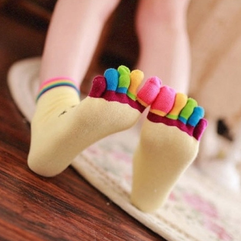 Colorful Finger Socks with Smiley Face