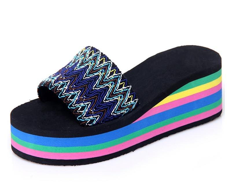 Women's Rainbow Slide Sandals with Wedge Heels