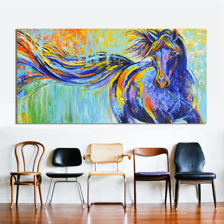 Rainbow Running Horse Painting