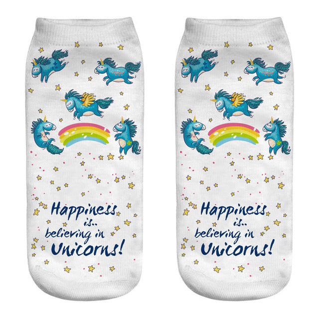 Cute Dancing Unicorn Print Socks