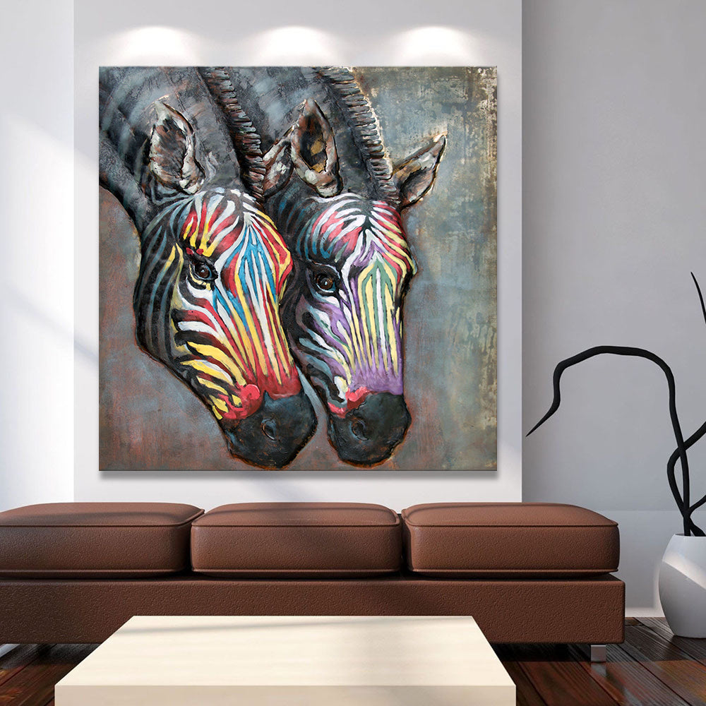Rainbow Colored Zebra Painting