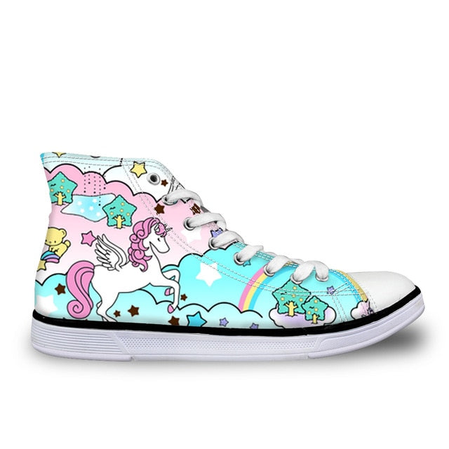 Rainbow Color Unicorn Canvas Shoes for Women