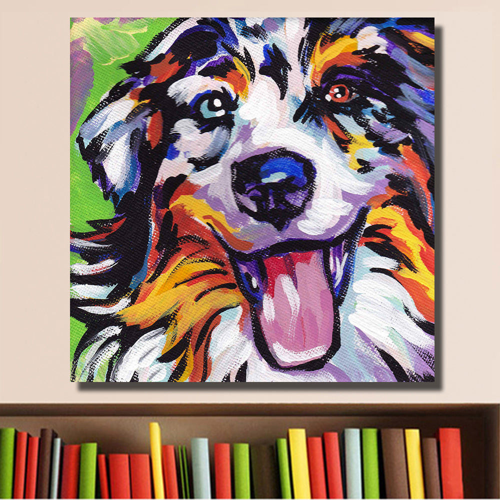 Colorful Happy Dog Painting