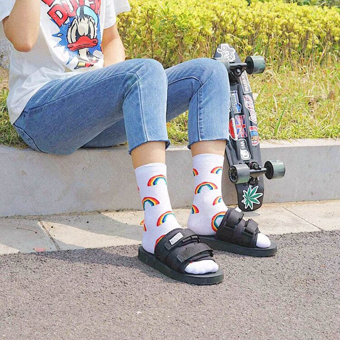 Rainbow Patterned Cool Skateboard Women Socks