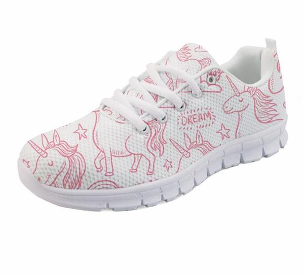 Rainbow Unicorn Print Mesh Sneakers