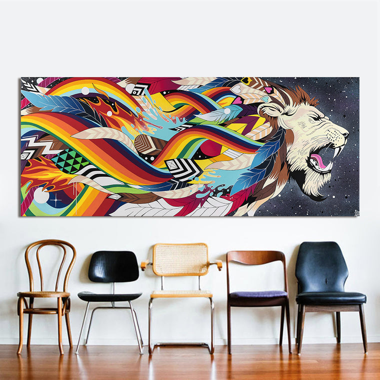 Beautiful Running Lion Colorful Painting