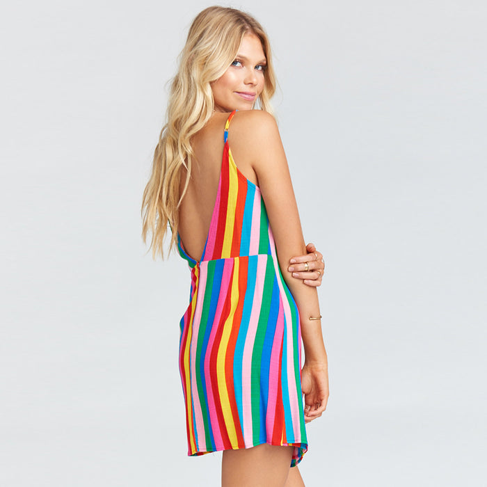 Rainbow Striped Sleeveless Dress for Women