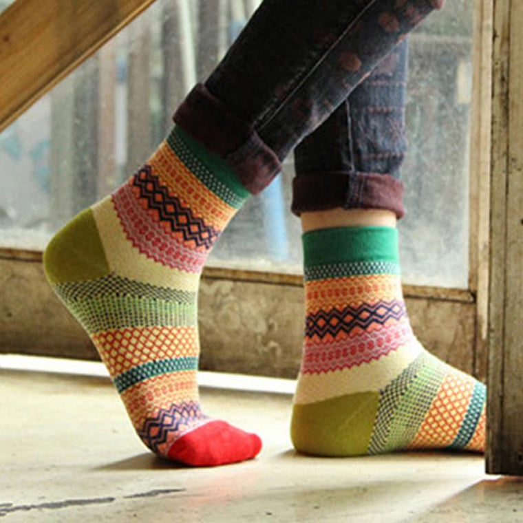 Vintage Style Rainbow Striped Cotton Socks