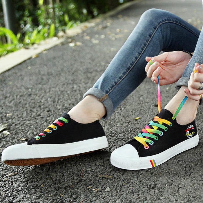 Vulcanized Rainbow Lace-up Canvas Shoes