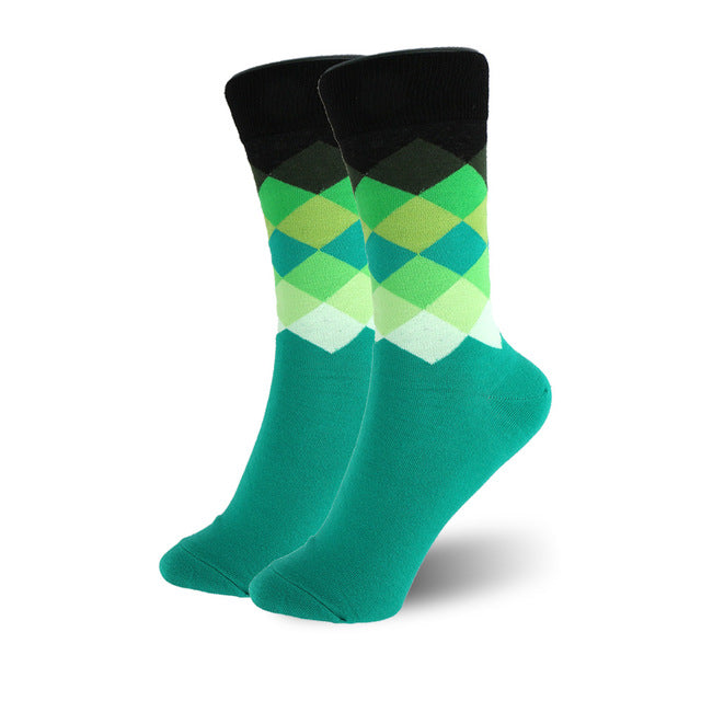 rainbow colored geometric pattern socks