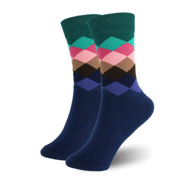 Geometric Pattern Colorful Crew Socks