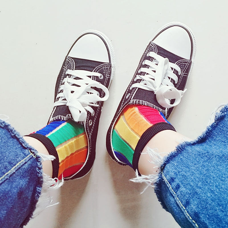 Rainbow Colored Vertical Stripe Socks