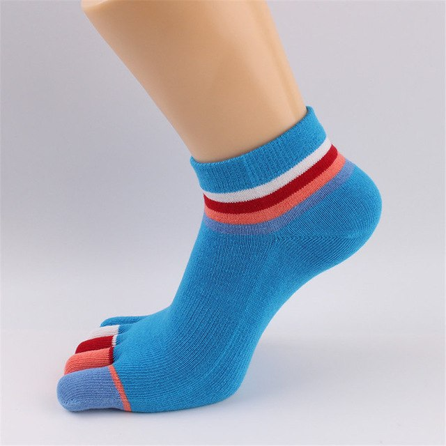 Colorful Rainbow Stripe Cute Toe Socks