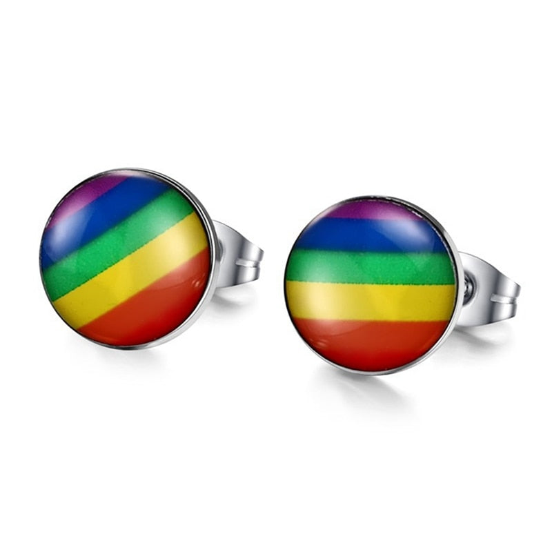 Titanium Rainbow Stud Earrings
