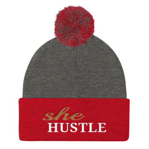 She Hustle Pom Pom Knit Cap - The Good Life Hustle
