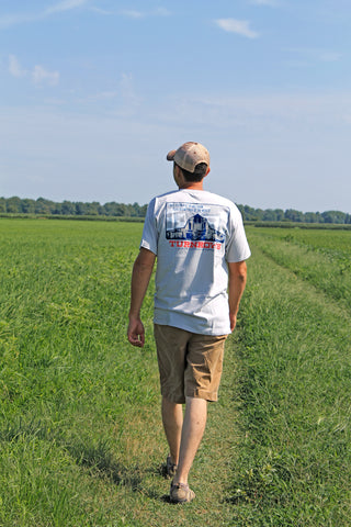 Josh Cureton checking rice fields