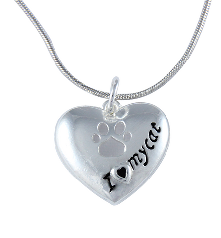 Love My Cat Heart Necklace - Zapbest2