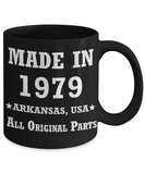 40h birthday gifts for men - Made in 1979 All Original Parts Arkansas - Best 40th Birthday Gifts for family Ceramic Cup Black, Funny Mugs Gift Ideas 11 Oz