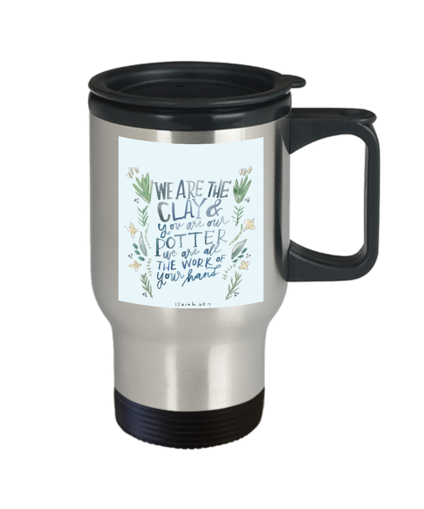 Scripture mugs for women , Clay and Potter  - Stainless Steel Travel Mug 14 oz Gift