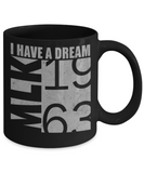 Martin luther king mugshot Dream, MLK 1963 - Funny Black Porcelain Coffee Mug Cute Ceramic Cup 11 oz