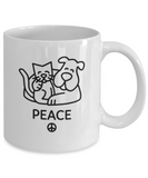 Gift gor dog lovers , Peace - White Coffee Mug Porcelain Tea Cup 11 oz - Great Gift