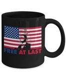 Martin luther king mugshot Speech, Free at last - Funny Black Porcelain Coffee Mug Cute Ceramic Cup 11 oz