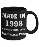 21st birthday gifts for her - Made in 1998 All Original Parts California - Best 21st Birthday Gifts for family Ceramic Cup Black, Funny Mugs Gift Ideas 11 Oz
