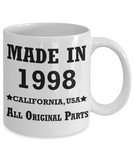 21st birthday gifts for her - Made in 1998 All Original Parts California - Best 21st Birthday Gifts for family Ceramic Cup White, Funny Mugs Gift Ideas 11 Oz