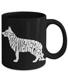 Personalized German Shepherd Coffee mug,German Shepherd Shape With Letters-Black Porcelain Coffee Mug 11 oz